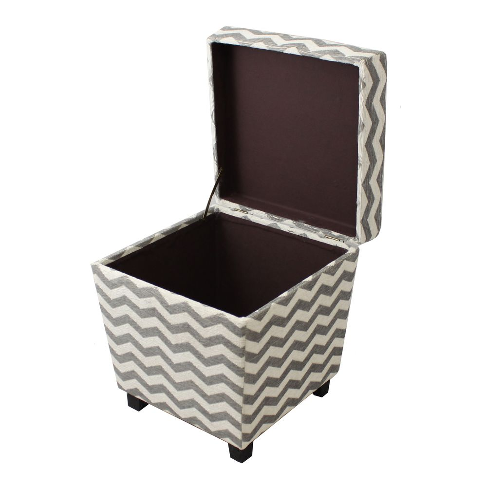 Alana Square Chevron Fabric Storage Ottoman | Overstock™ Shopping - Great Deals on Casa Cortes Ottomans