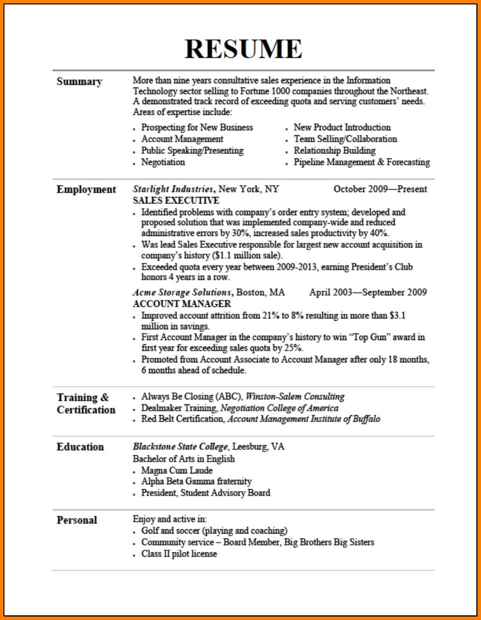 Example Good Resume Template Example Good Resume Template Job