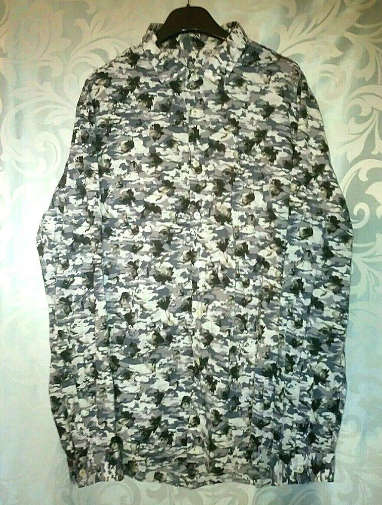 2aea48f28bb4 Zara Man Shirt Slim Fit Long Sleeve XL Floral print Black k Grey Blue #Zara