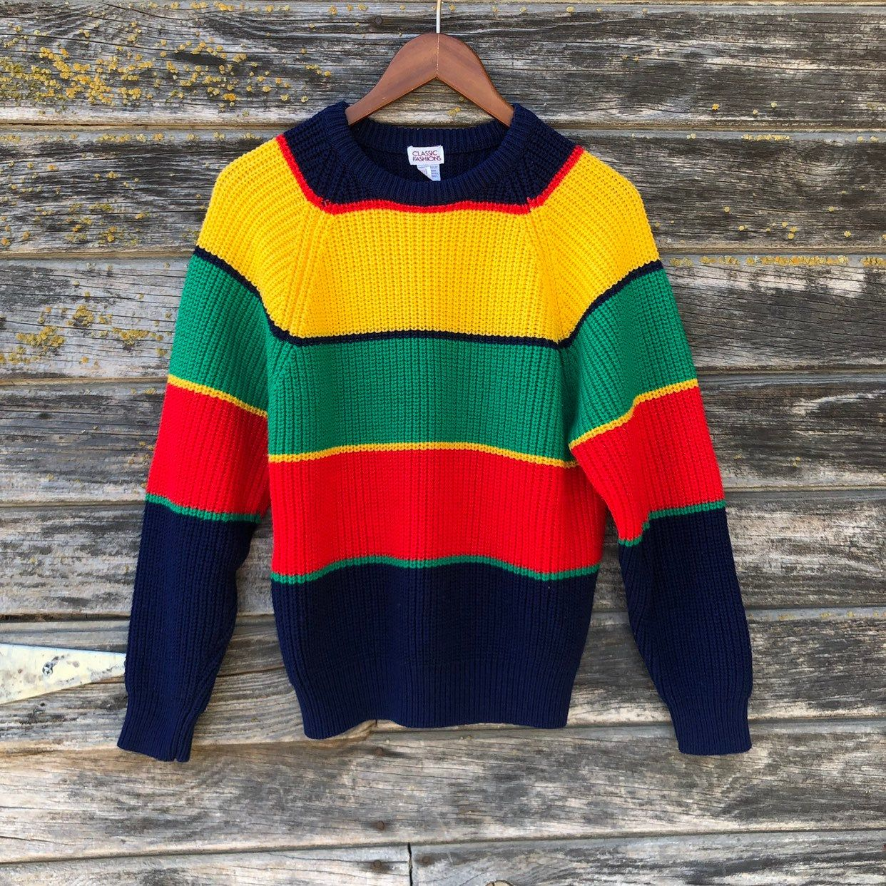 Vintage Striped Sweater Colorblock Red Green Gold Mustard