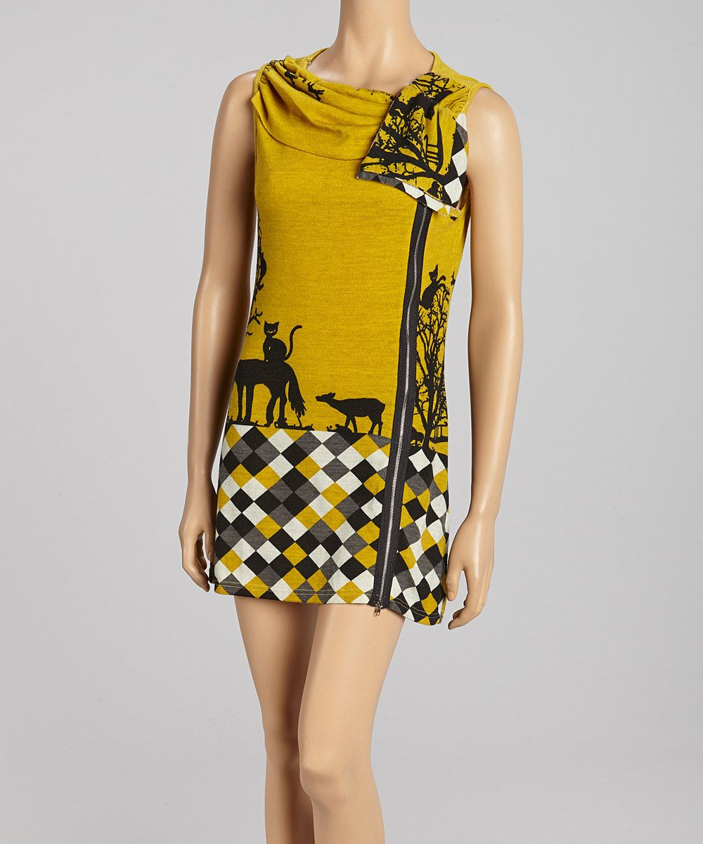 Yellow Checkerboard Dress & Open Cardigan - Women | Daily deals for moms, babies and kids