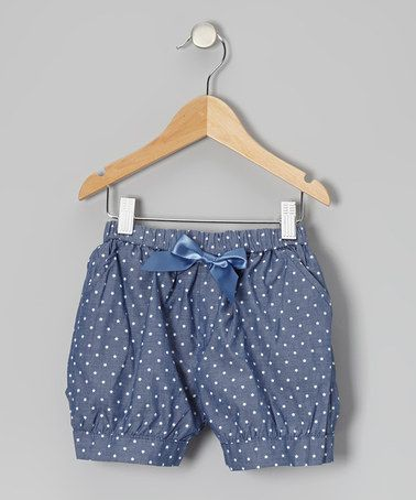 Blue Polka Dot Bow Shorts by Funkyberry