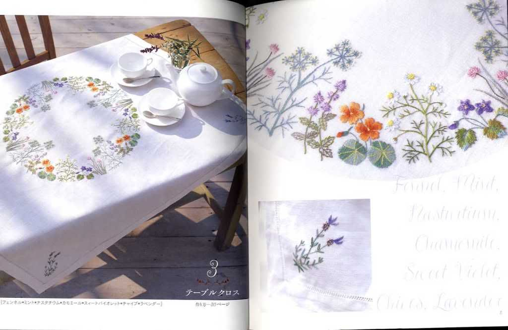 Japanese Craft Book Herb Embroidery on Linen