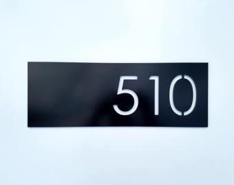 Black House Numbers Address Plaque Minimalist Design