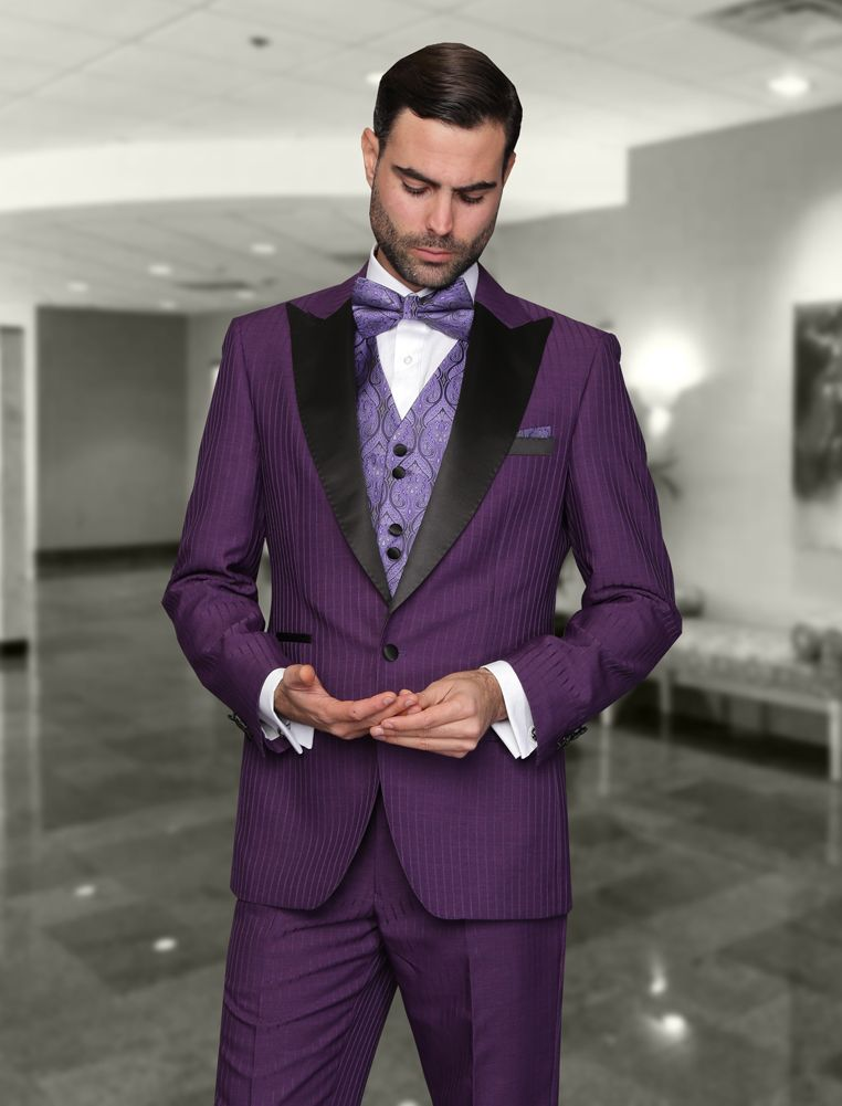 NATALIE-2 PURPLE 3PC 1 BUTTON MENS SUIT WITH SATIN COLLAR AND TRIM ...