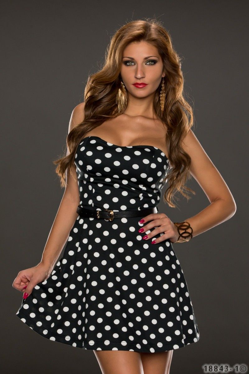 Bandeau Peticoat Kleid schwarz mit Punkten Damenmode - online kaufen - traumshop2000.de
