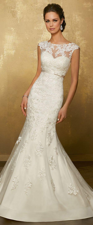 White mermaid wedding dress  Wonderful Tulle Jewel Neckline Mermaid Wedding Dress With Lace
