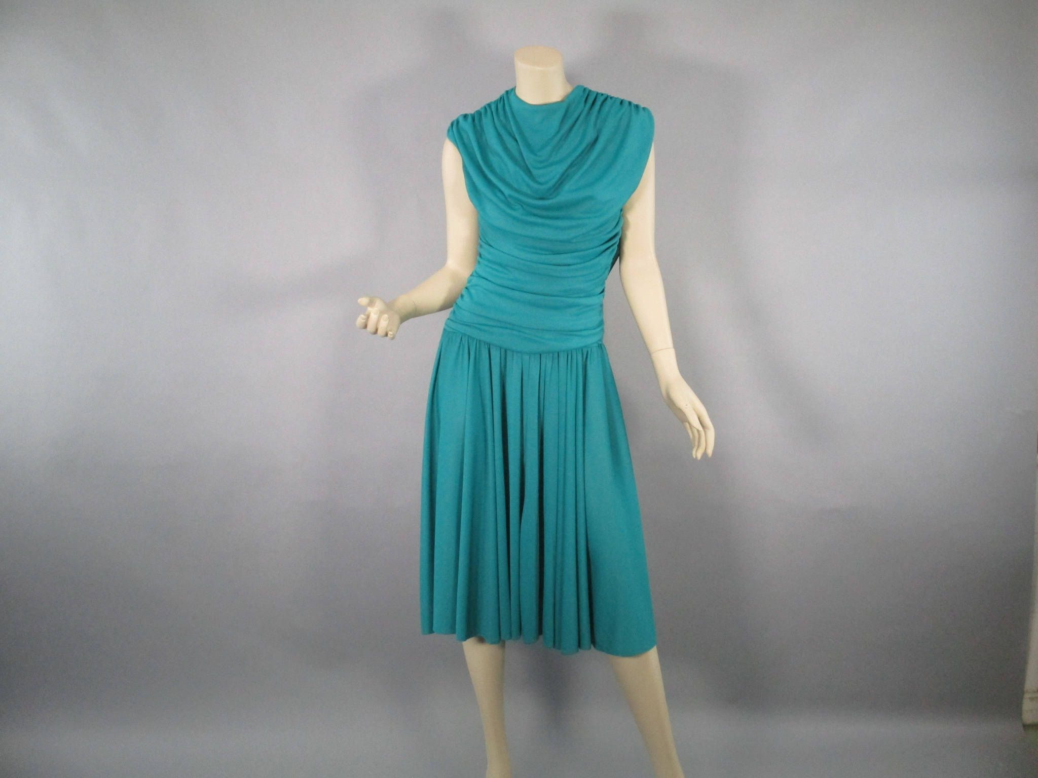 70s Dance Dress Teal Disco Dress, Vintage Studio 54 Size M Wedding ...