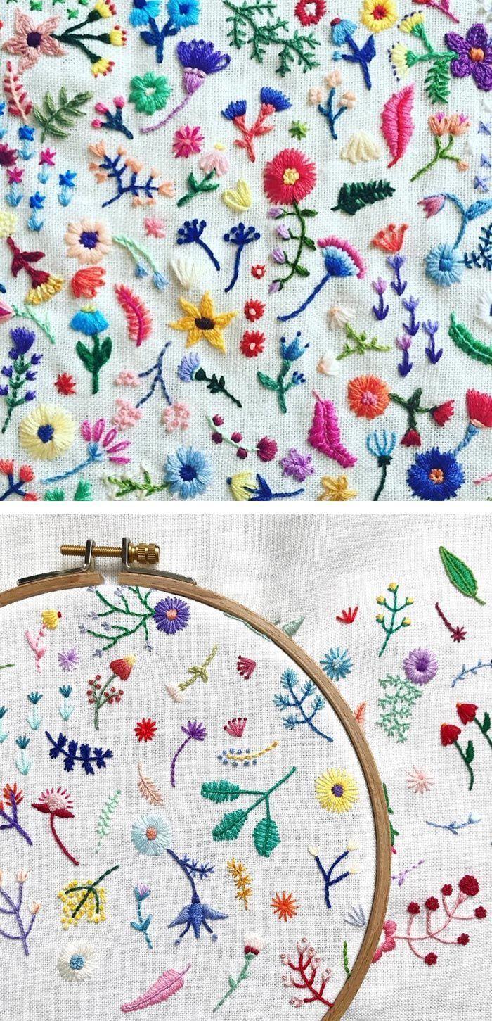 Kleine Stickstiche kleine Blüten in spontanen Arrangements #arrangements #blut #flowerpatterndesign