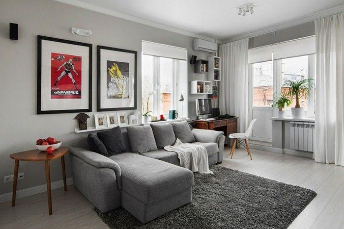 Grey Sofa Living Room Corner Gray Carpet Airy Curtains