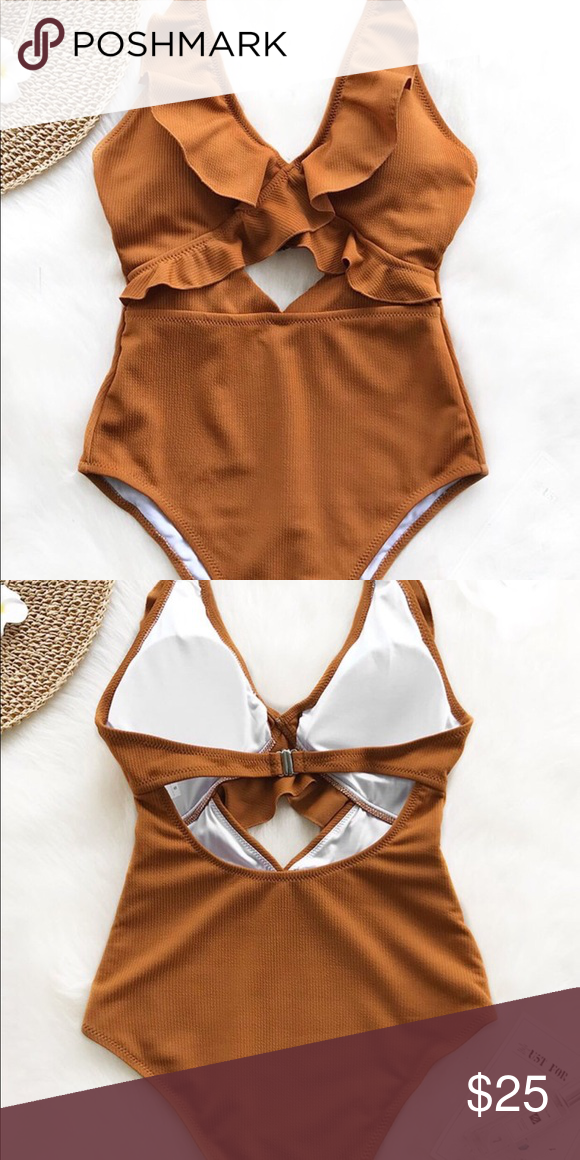 d9126456247b2 Burnt orange/brown one piece Super cute one piece from Cupshe Size L Ruffle  detail and front keyhole add feminine detail Color is solid brownish burnt  ...