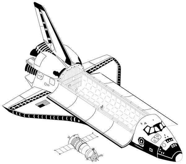 Space Shuttle Module Inside A Space Shuttle Coloring Page