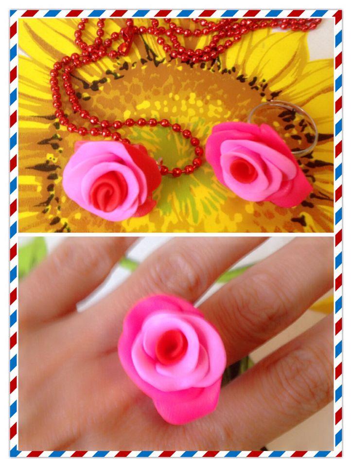 Fimo anello e collana rosa