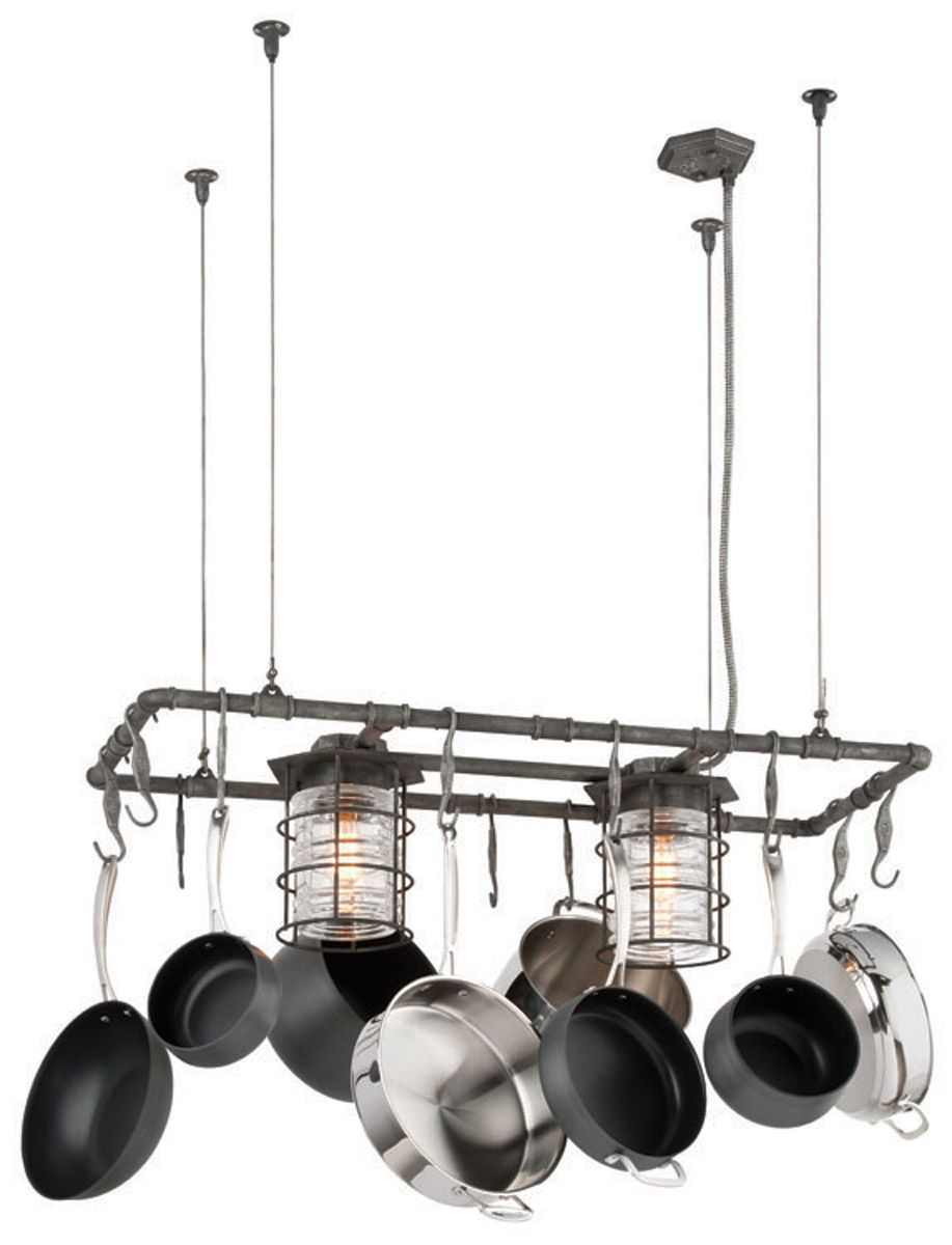 Troy Lighting Brunswick 2 Light Island Pot Rack In Aged Pewter F3798