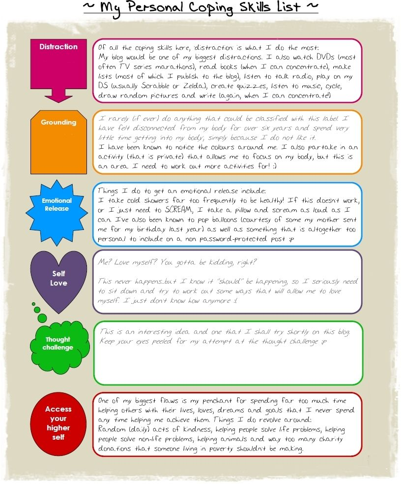 Worksheets Coping Skills Worksheets For Kids coping skills mental health issues and skills