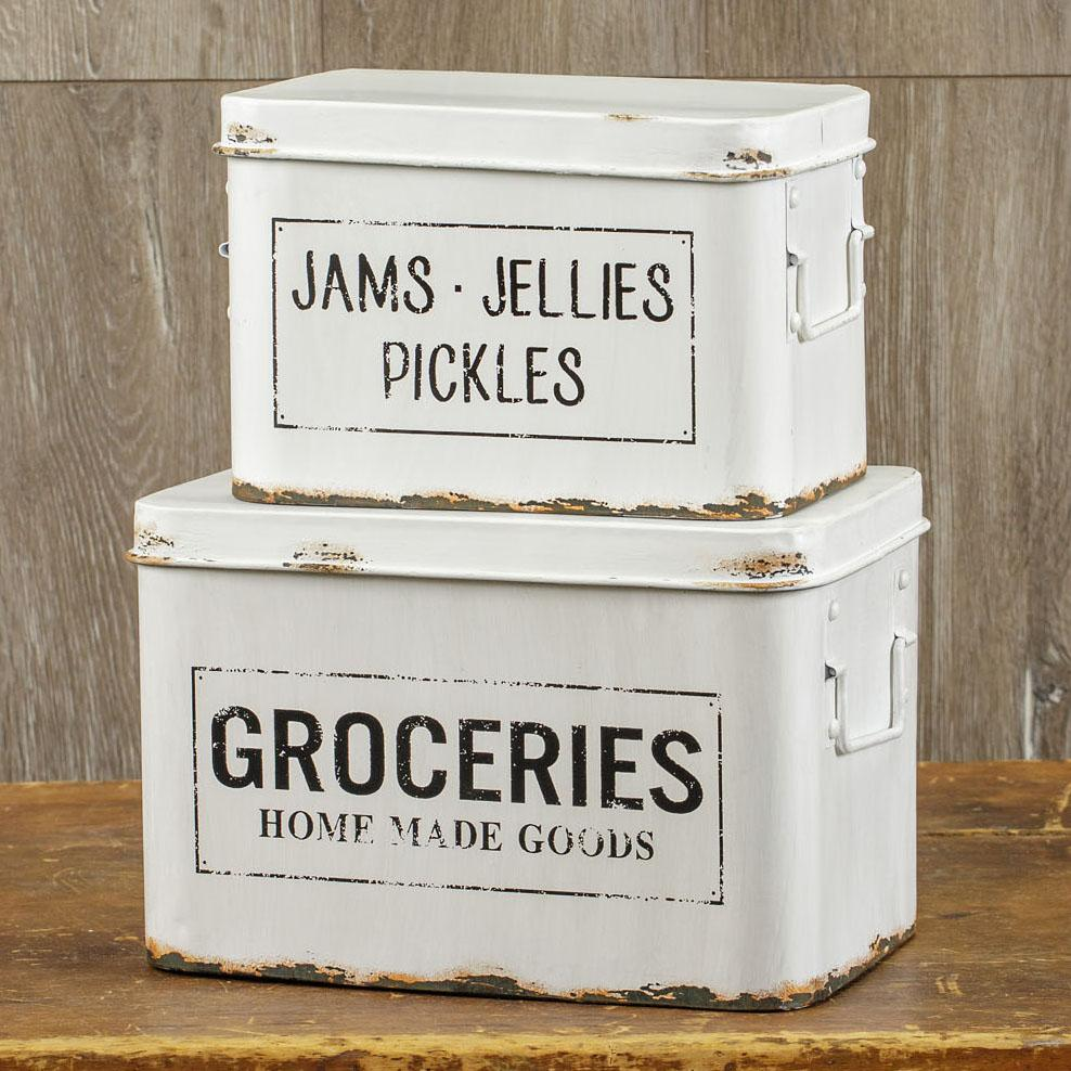 Distressed metal grocery boxes set of 2 in 2020