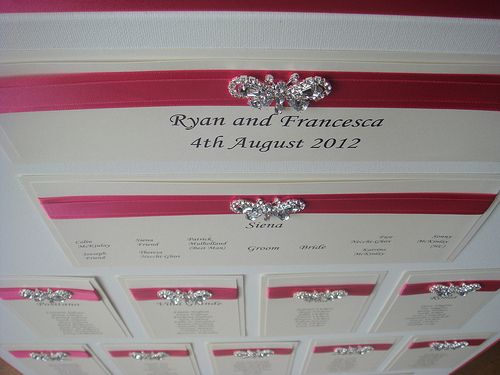 Wedding Seating Plan Table With A Diamante Butterfly Shown In Hot Pink