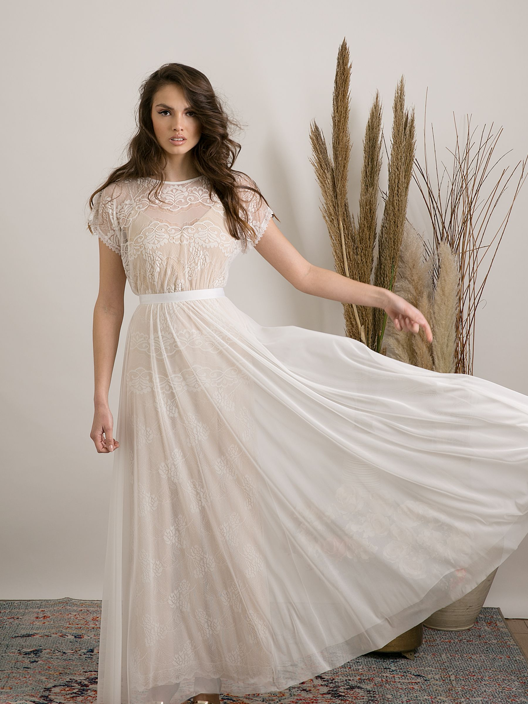 Modern casual lace bohemian wedding dress. Unique & Etsy