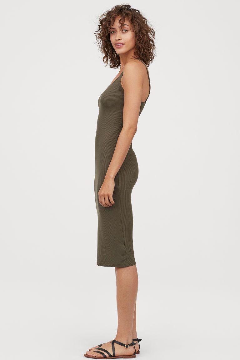 Ribbed Dress Dark Khaki Green Ladies H M Us Ribbed Dresses Ribbed Dress Black Knee Length Dress [ 1152 x 768 Pixel ]