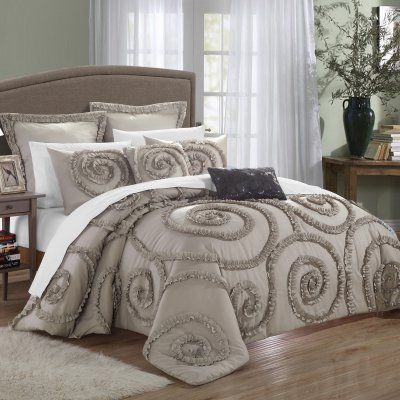Rosamond Comforter Set by Chic Home Taupe - CS2232-HE