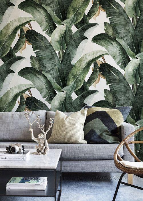 Botany Banana Fotobehang Behang Photowall Decoraties Behang Accent Muur Tropische Decoratie