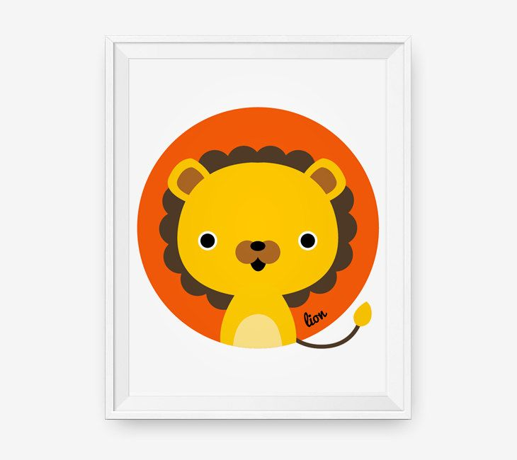 Lion Print for nursery, Baby cute jungle animal wall art, children ...