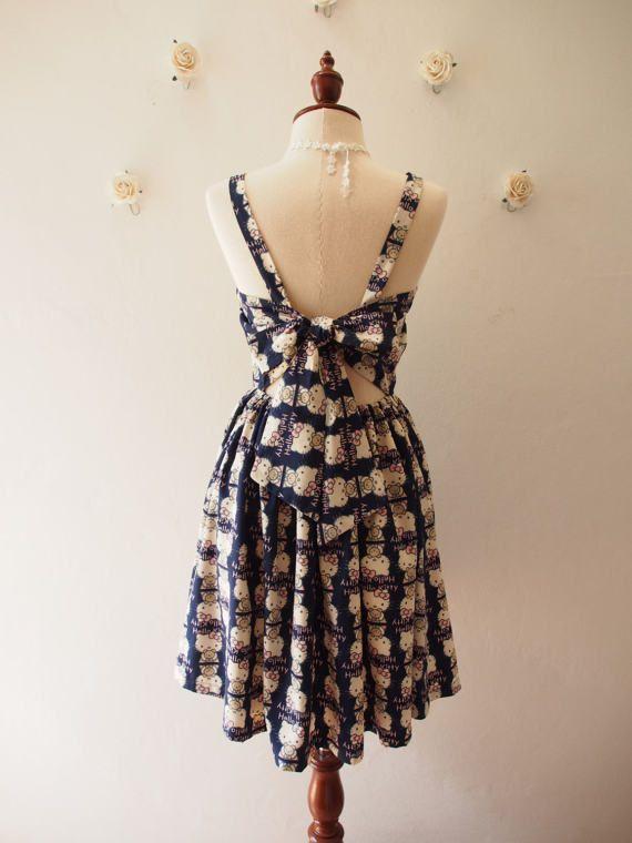 df198abd49e Navy Sundress Backless Vintage Modern Summer Dress by Amordress ...