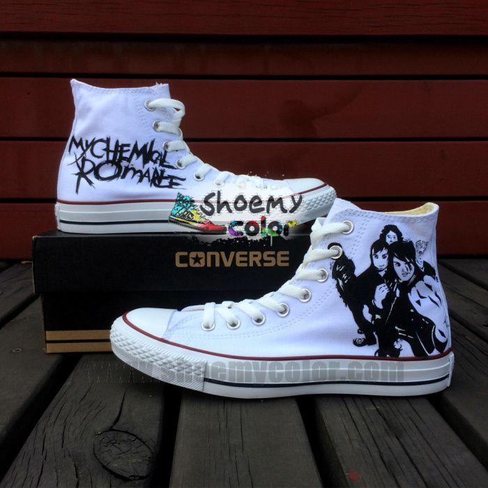 5941101d5de7 Custom My Chemical Romance Pure Hand Painted Black High Top Converse Canvas  Shoes for Women Men