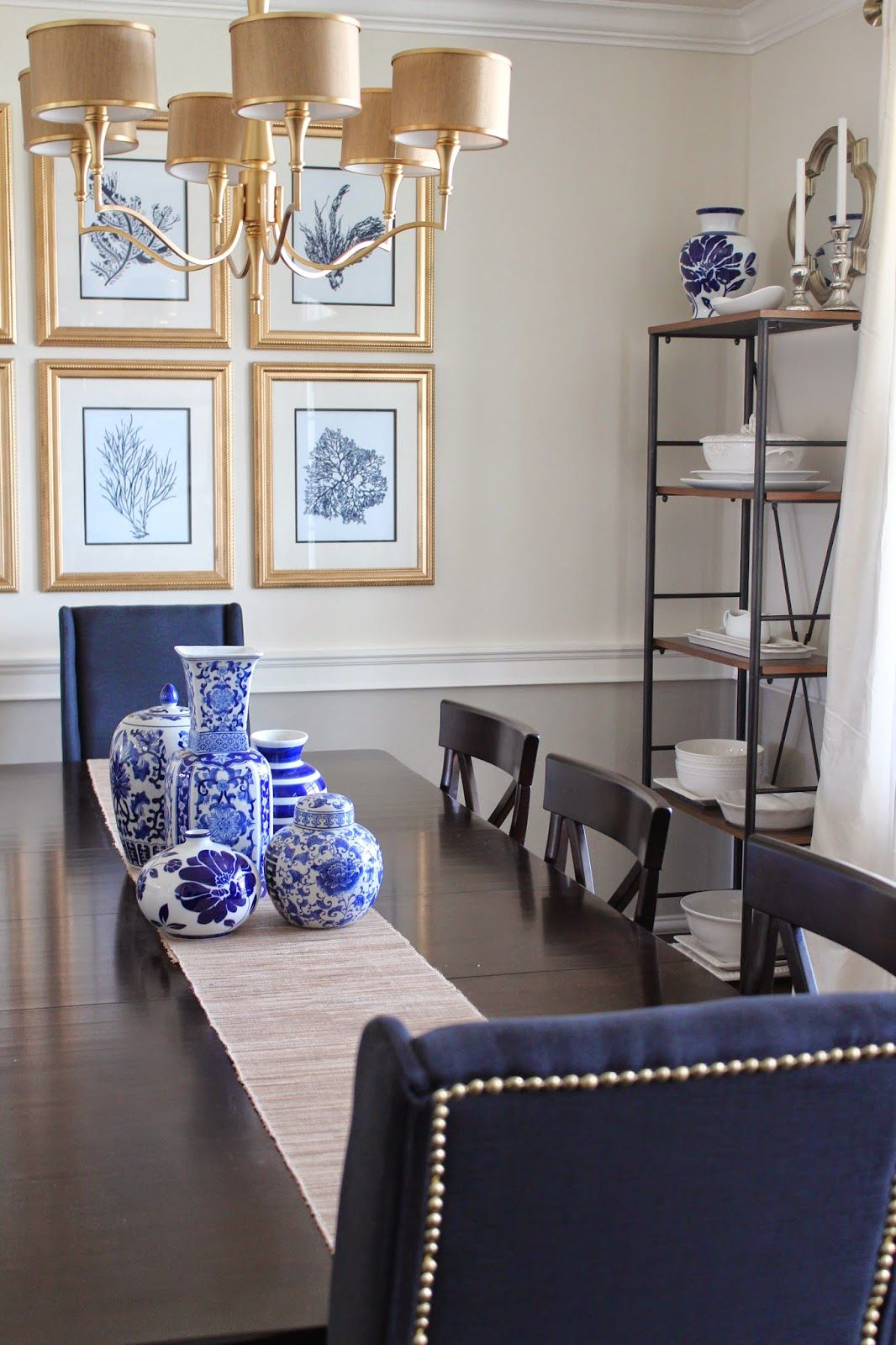 Easy Nailhead DIY Navy And Gold Dining Room, Navy Upholstered Dining Chair  With Nailhead Trim