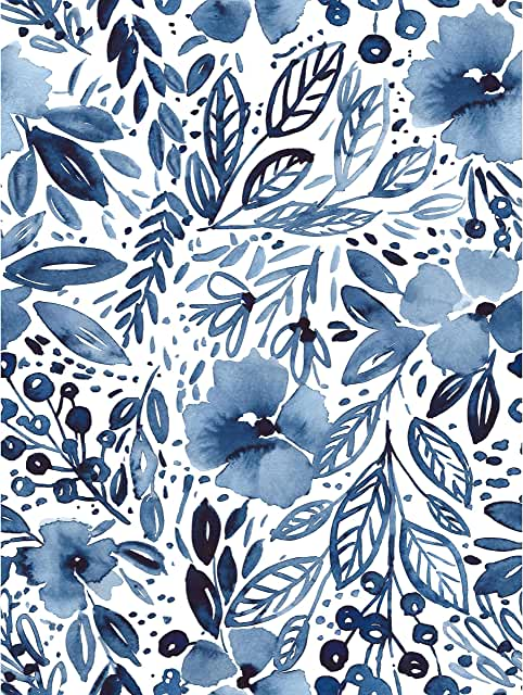 Amazon Com Blue And White Peel And Stick Wallpaper In 2020 Blue And White Wallpaper Peel And Stick Wallpaper Powder Room Wallpaper