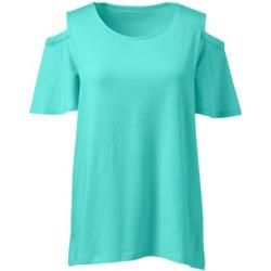 Photo of Cut-out shirt in cotton / modal in petite size – blue – 36-38 from Lands 'End Lands' End