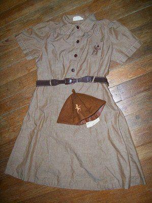 Vintage Girl Scouts BROWNIE UNIFORM Dress, Belt & Beanie - 1960's