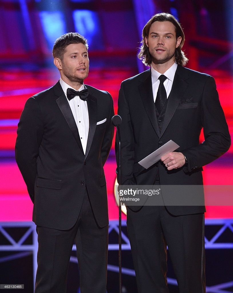 Actors Jensen Ackles (L) and Jared Padalecki speak onstage during the 19th Annual Critics' Choice Movie Awards at Barker Hangar on January 16, 2014 in Santa Monica, California.