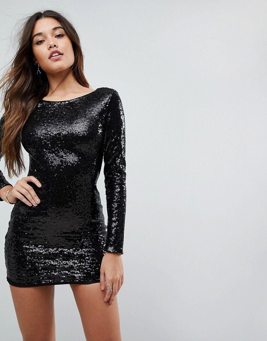 Club L Long Sleeve Plunge Back All Over Sequin Mini Dress Black Mini Dress Maxi Dress Prom Short Sleeve Maxi Dresses [ 1110 x 870 Pixel ]