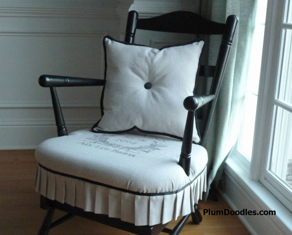 Early American To French Country Rocking Chair Makeover  Giving An Early  American Rocking Chair French Country Flavor With Paint, Fabric, Ooh La La.