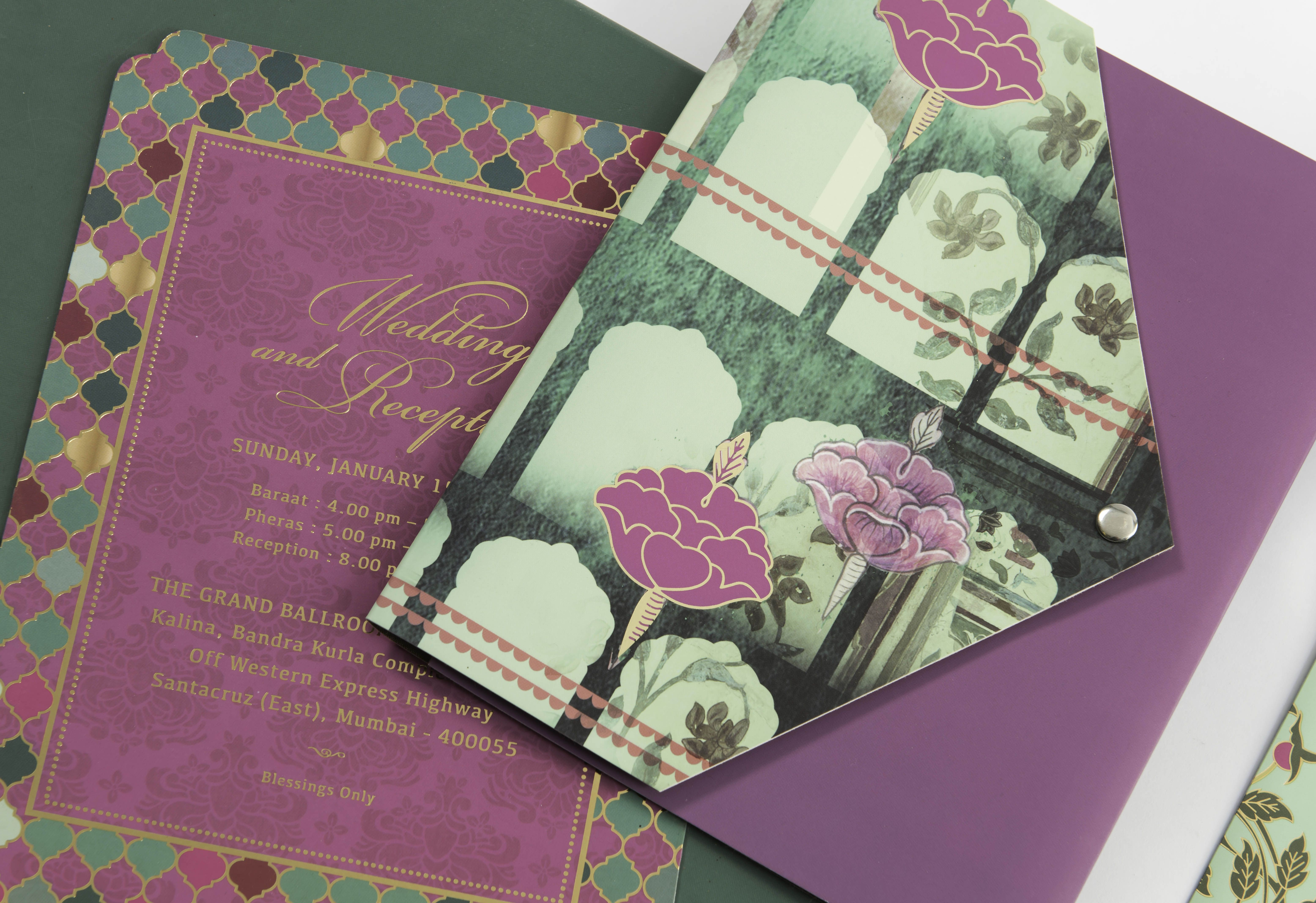 Emerald City Palace Wedding Invitation Folder Style with