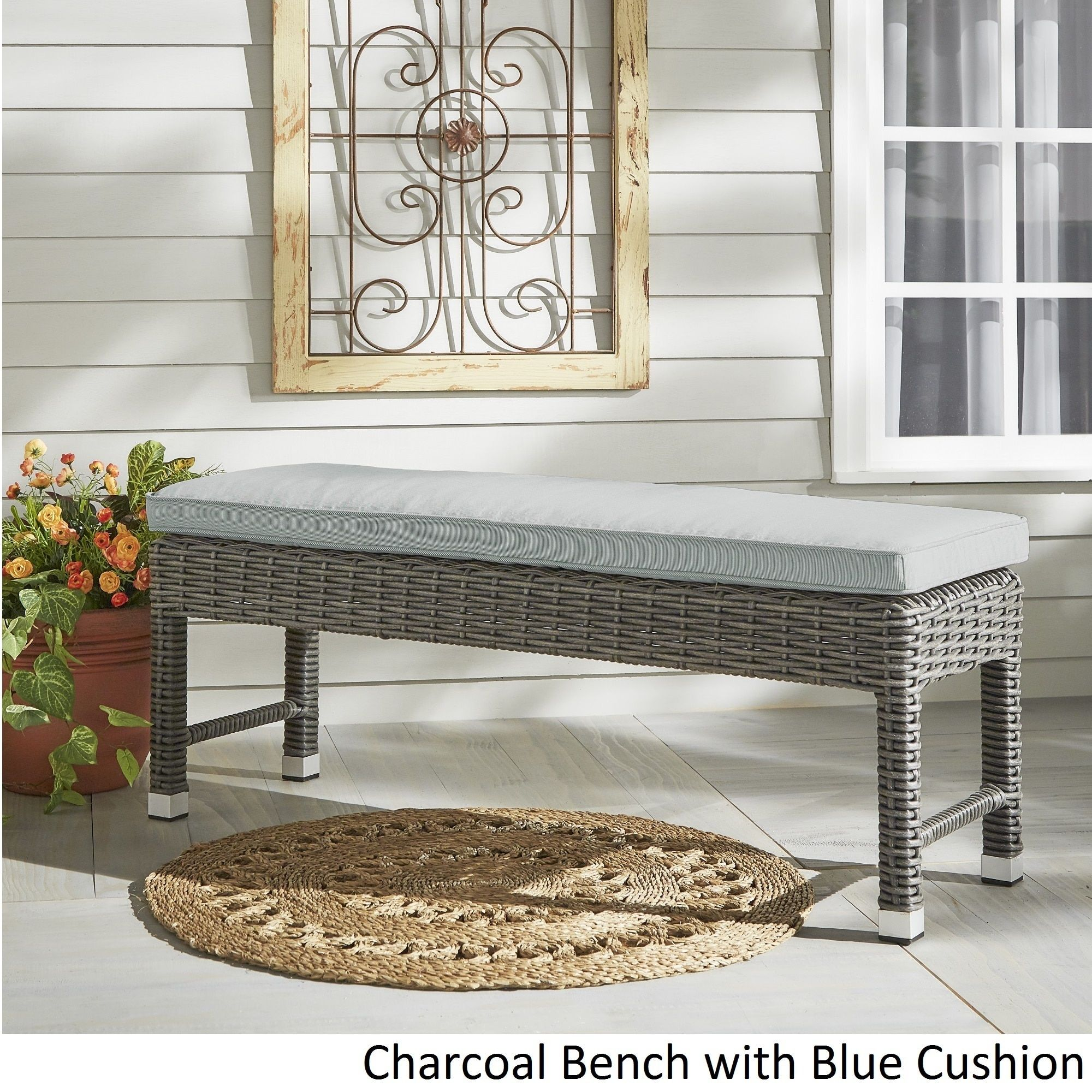 Barbados Wicker 55-inch Patio Cushioned Coffee Table Bench iNSPIRE Q Oasis  by iNSPIRE Q