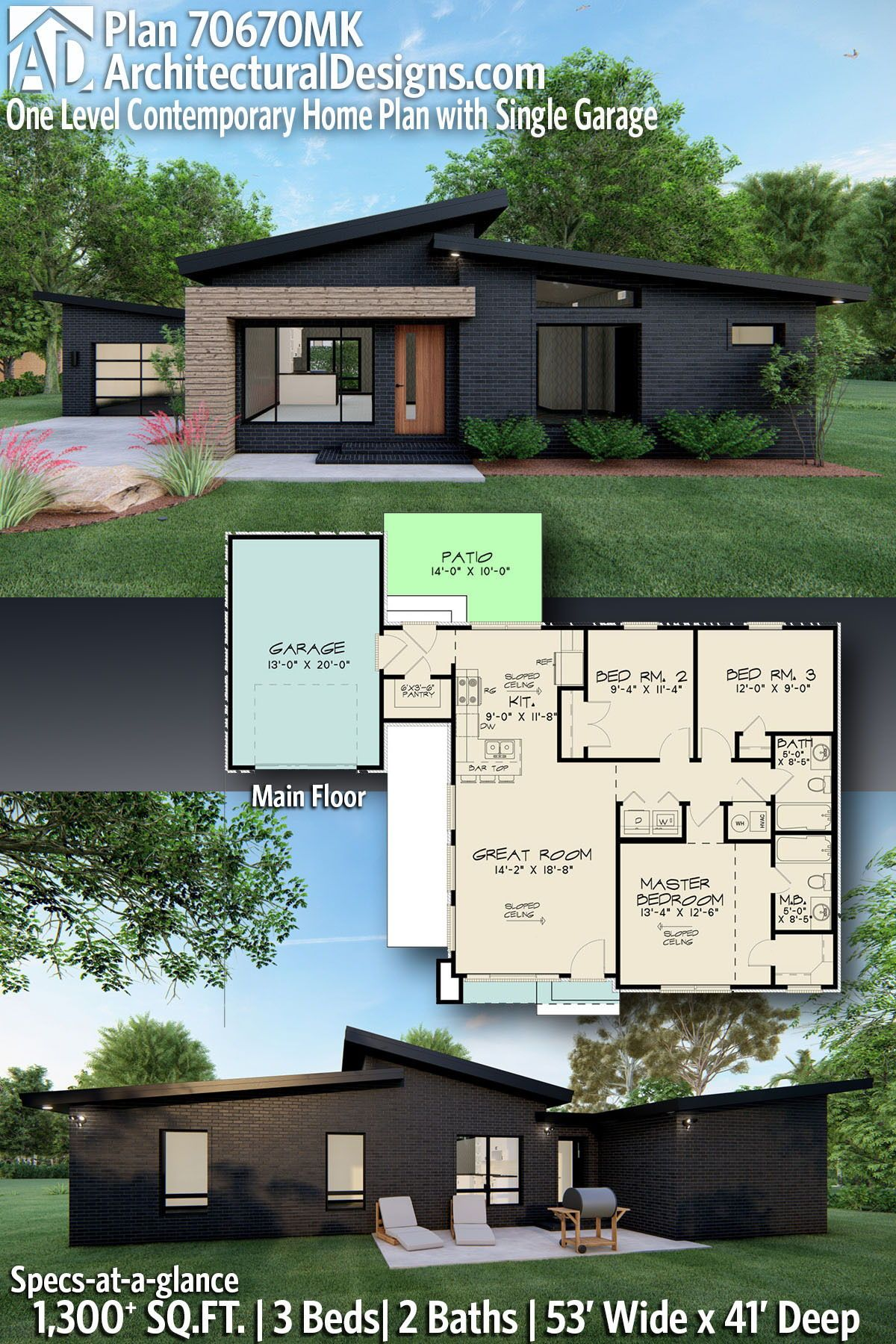 Plan 70670mk One Level Contemporary Home Plan With Single Garage Modern Style House Plans Contemporary House Plans Small Modern House Plans
