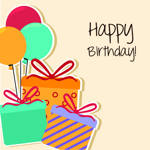 Cartoon Style Happy Birthday Greeting Card Template 02