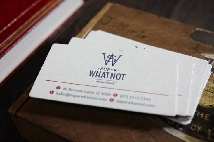 Super whatnot an urban hotspot thats an extension of the street super whatnot letter press business card with blue and red ink in brisbane australia marc and co alicia taylor remodelista reheart Images