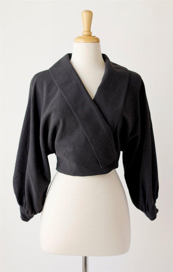 1980's vintage charcoal grey cropped jacket