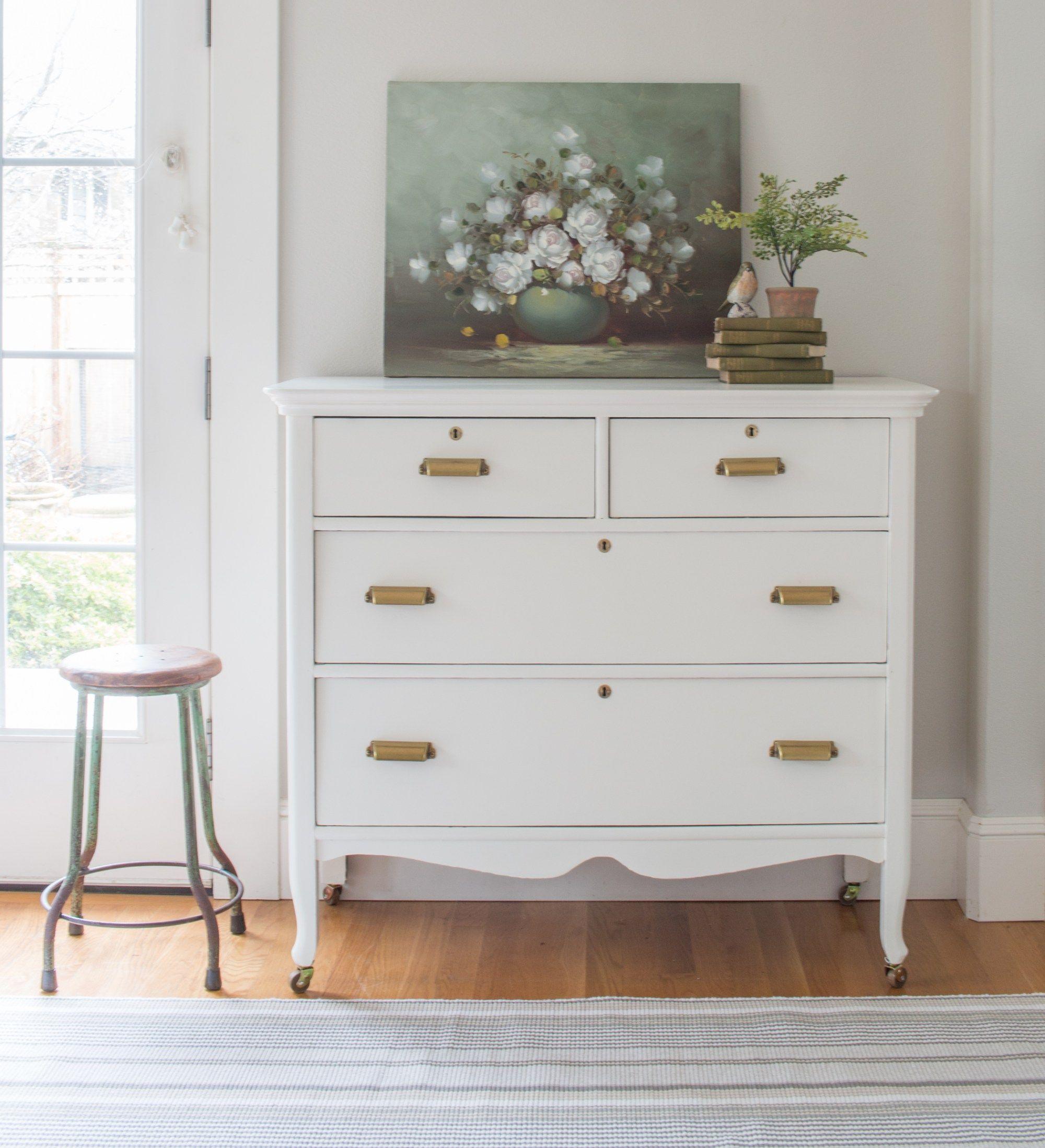 White And Brass Vintage Dresser Makeover Saw Nail And Paint Vintage Dresser Makeover Dresser Decor Dressers Makeover [ 2196 x 2000 Pixel ]