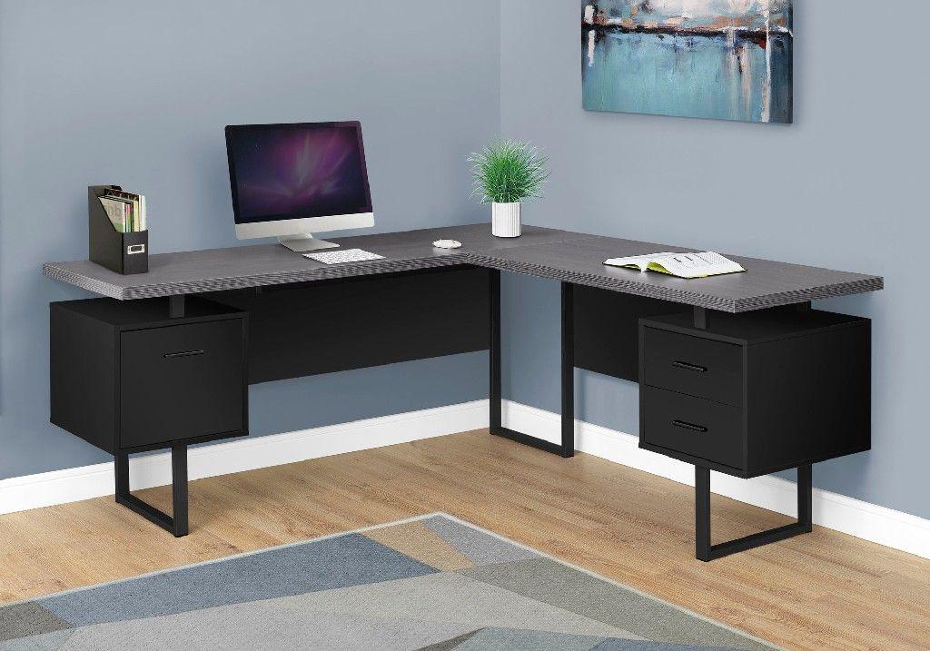 Computer Desk 70 L Black Grey Top Left Right Facing Monarch Specialties I 7432 In 2021 Contemporary Computer Desk Grey Desk Desk With Drawers