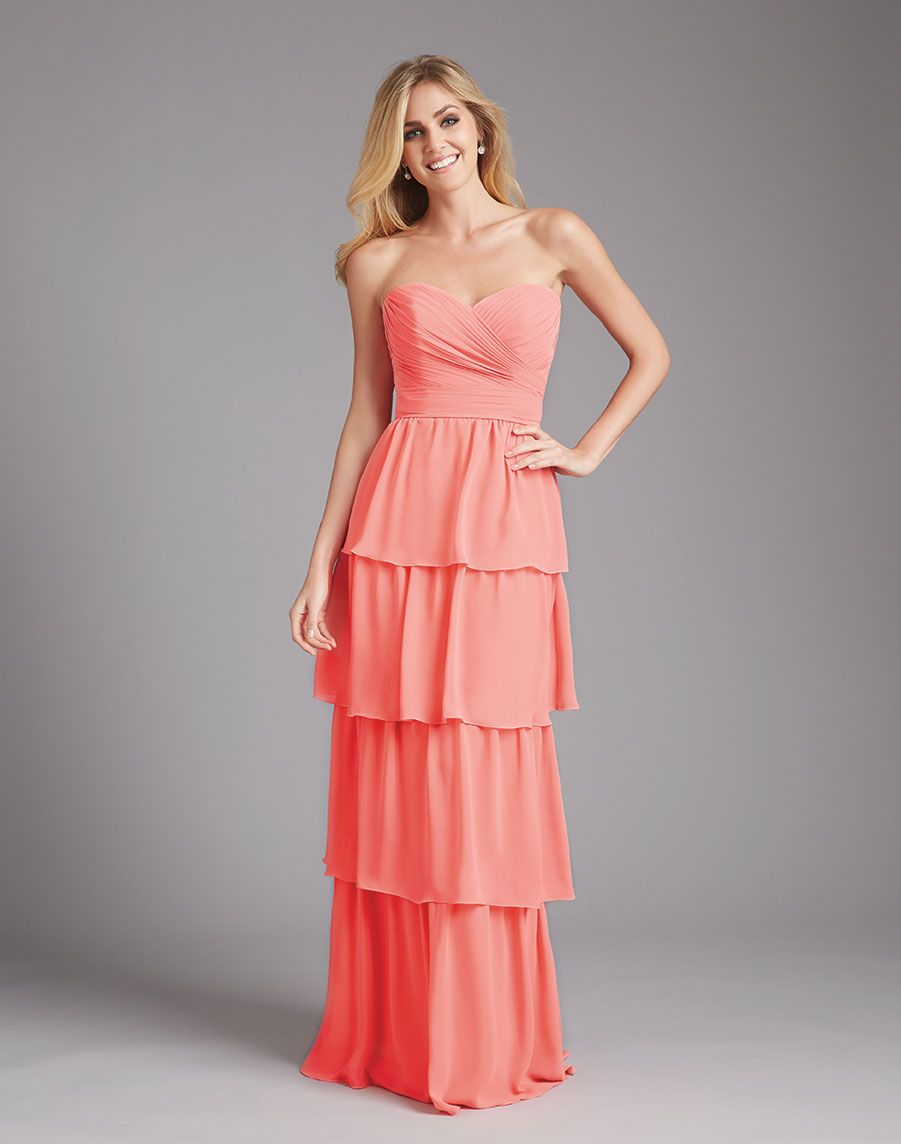 6c3e1c7aabbd Layered Sweetheart Long Style Coral Bridesmaid Dresses