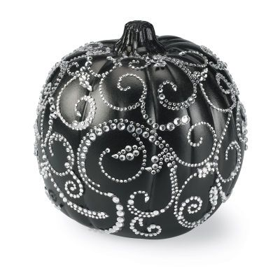 Pumpkin with rhinestone swirls  I'd rather use a ceramic pumpkin so that I can use it from year to year!  I saw some great ceramics at Wal-Mart.  Going back tomorrow!!