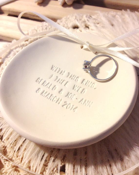 Custom Wording Chic Minimalist Wedding Ring Bearer Bowl Dish Holder