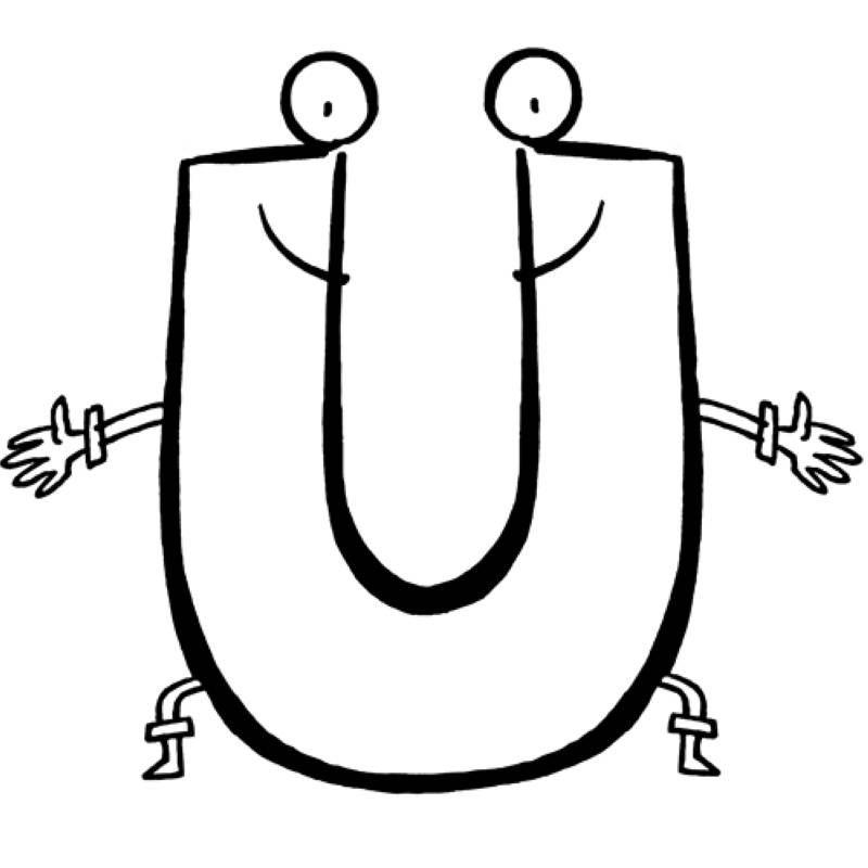 das alphabet beim ausmalen lernen der buchstabe u wartet