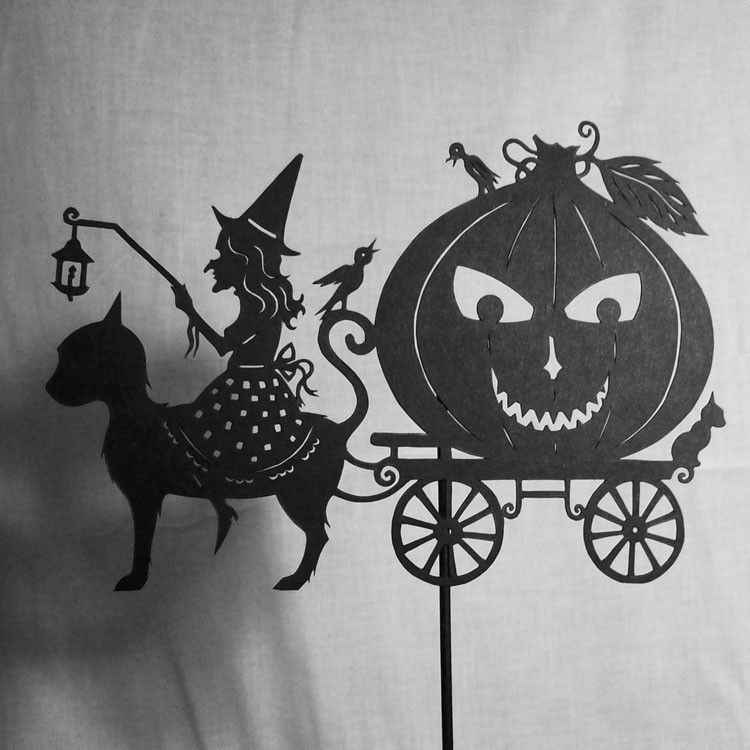 shadow puppet papercut witch halloween carriage jack o'lantern