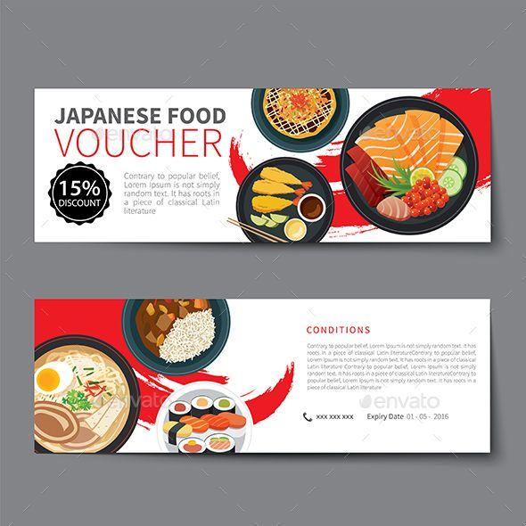 Japanese Food Voucher Discount Template Flat Design Flat design - food voucher template