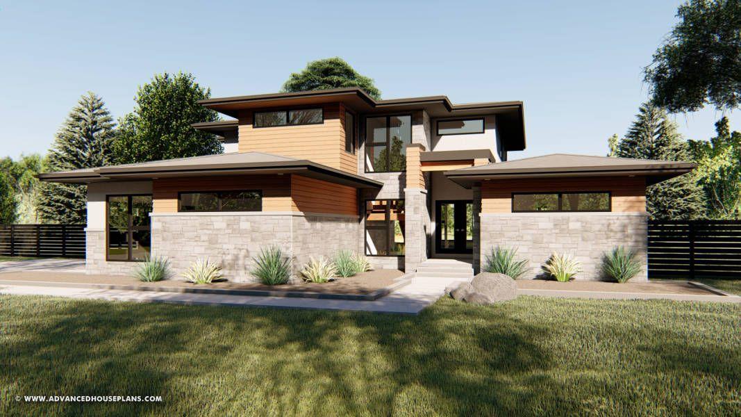 Stunning Modern Prairie House Plan Looking Glass 27616 In 2020 Prairie Style Houses Modern House Plan Modern Prairie Home